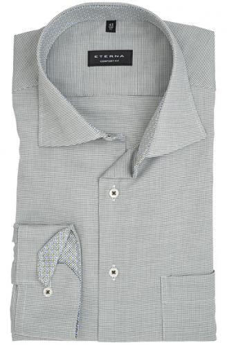 eterna vasalásmentes férfi ing khaki-fehér anyagában mintás