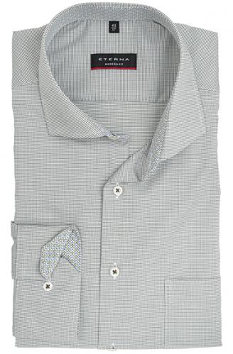 eterna vasalásmentes karcsúsított férfi ing khaki-fehér anyagában mintás