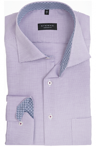eterna vasalásmentes férfi ing lila-fehér anyagában mintás