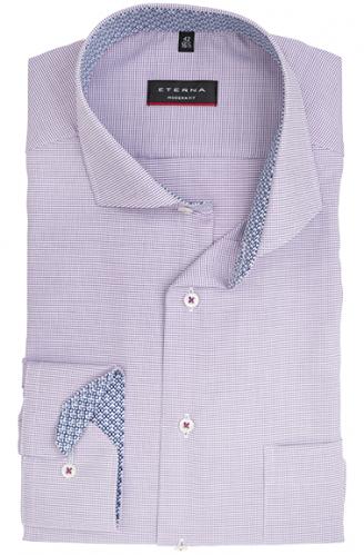 eterna vasalásmentes karcsúsított férfi ing lila-fehér anyagában mintás