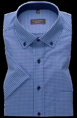 eterna vasalásmentes karcsúsított férfi ing rövid ujjú - kék-türkizkék kockás