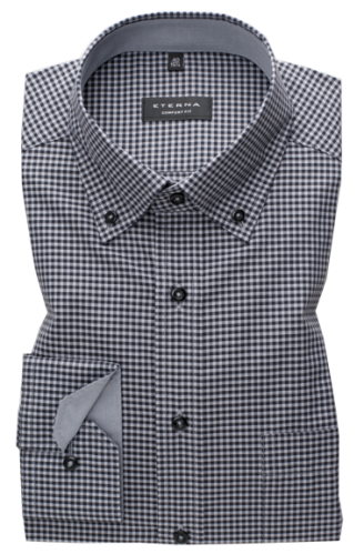 eterna vasalásmentes férfi ing szürke-fekete kockás