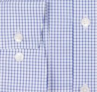 OLYMP vasalásmentes férfi ing karcsúsított kék kockás - mandzsetta