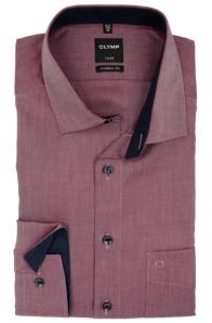 OLYMP vasalásmentes férfi ing karcsúsított bordó mintás