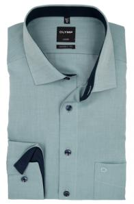 OLYMP vasalásmentes férfi ing karcsúsított zöld mintás