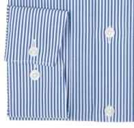 OLYMP vasalásmentes férfi ing karcsúsított sötétkék csíkos - mandzsetta