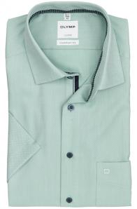 OLYMP vasalásmentes férfi ing zöld anyagában mintás rövid ujjú