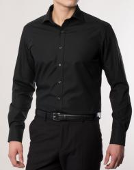 eterna vasalásmentes karcsúsított férfi ing fekete hosszított ujjú - modell