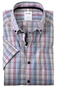 OLYMP vasalásmentes férfi ing rövid ujjú színes kockás