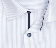 OLYMP vasalásmentes férfi ing világoskék csíkos rövid ujjú - gallér