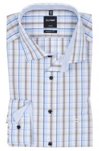 OLYMP vasalásmentes férfi ing karcsúsított barna-kék kockás