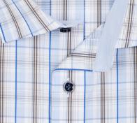 OLYMP vasalásmentes férfi ing karcsúsított barna-kék kockás - gallér