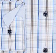 OLYMP vasalásmentes férfi ing karcsúsított barna-kék kockás - mandzsetta