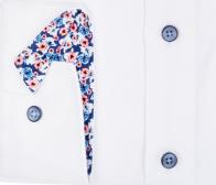 OLYMP vasalásmentes férfi ing karcsúsított fehér anyagában mintás - mandzsetta