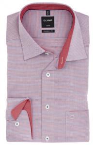 OLYMP vasalásmentes férfi ing karcsúsított piros-sötétkék mintás
