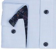 OLYMP vasalásmentes férfi ing karcsúsított világoskék tyúklábmintás - mandzsetta
