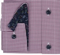 OLYMP vasalásmentes férfi ing karcsúsított bordó tyúklábmintás - mandzsetta