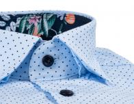 OLYMP vasalásmentes férfi ing karcsúsított kék-sötétkék pöttyös - gallér