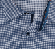 OLYMP vasalásmentes férfi ing karcsúsított sötétkék apró mintás - gallér