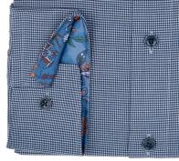 OLYMP vasalásmentes férfi ing karcsúsított sötétkék apró mintás - mandzsetta