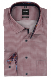 OLYMP vasalásmentes férfi ing karcsúsított bordó apró mintás