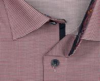 OLYMP vasalásmentes férfi ing karcsúsított bordó apró mintás hosszított ujjú - gallér
