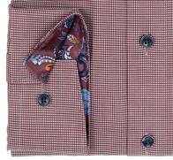OLYMP vasalásmentes férfi ing karcsúsított bordó apró mintás hosszított ujjú - mandzsetta