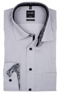OLYMP vasalásmentes férfi ing karcsúsított szürke apró mintás
