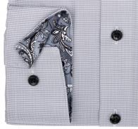 OLYMP vasalásmentes férfi ing karcsúsított szürke apró mintás - mandzsetta