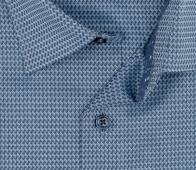 OLYMP vasalásmentes férfi ing karcsúsított szürkéskék mintás rövidített ujjú - gallér