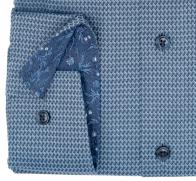 OLYMP vasalásmentes férfi ing karcsúsított szürkéskék mintás rövidített ujjú - mandzsetta
