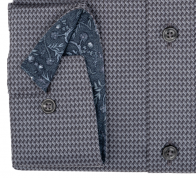 OLYMP vasalásmentes férfi ing karcsúsított sötétszürke mintás hosszított ujjú - mandzsetta