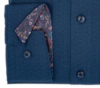 OLYMP vasalásmentes férfi ing karcsúsított sötétkék mintás hosszított ujjú - mandzsetta