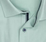OLYMP vasalásmentes férfi ing karcsúsított zöld anyagában mintás rövid ujjú - gallér