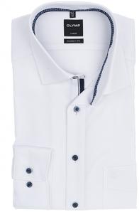 OLYMP vasalásmentes férfi ing karcsúsított fehér anyagában mintás