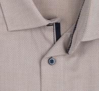 OLYMP vasalásmentes férfi ing karcsúsított világosbarna anyagában mintás - gallér