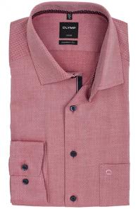 OLYMP vasalásmentes férfi ing karcsúsított piros anyagában mintás