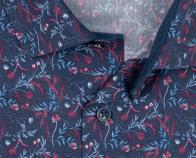 OLYMP vasalásmentes férfi ing karcsúsított sötétkék-bordó virágmintás hosszított ujjú - gallér
