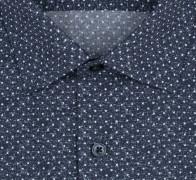 OLYMP vasalásmentes férfi ing karcsúsított sötétkék-fehér pöttyös - gallér