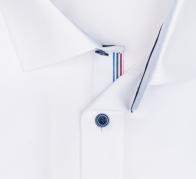 OLYMP vasalásmentes férfi ing karcsúsított fehér (csíkos gallér belső) - gallér