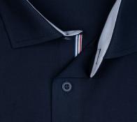 OLYMP vasalásmentes férfi ing karcsúsított sötétkék (csíkos gallér belső) - gallér
