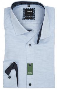 OLYMP vasalásmentes férfi ing karcsúsított világoskék anyagában átlós csíkos