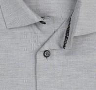 OLYMP vasalásmentes férfi ing karcsúsított világosszürke anyagában átlós csíkos - gallér