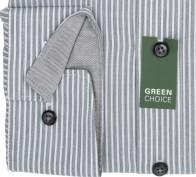 OLYMP vasalásmentes férfi ing karcsúsított rövidített ujjú - szürke csíkos - mandzsetta