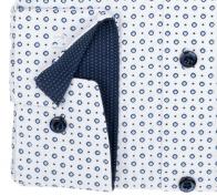 OLYMP vasalásmentes férfi ing karcsúsított fehér-kék mintás (fényes, kék gombok) - mandzsetta