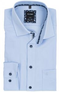 OLYMP vasalásmentes férfi ing karcsúsított világoskék átlós csíkos