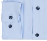 OLYMP vasalásmentes férfi ing karcsúsított világoskék átlós csíkos - mandzsetta