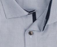 OLYMP vasalásmentes férfi ing karcsúsított rövidített ujjú világoskék-barna mintás - gallér