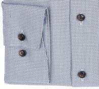 OLYMP vasalásmentes férfi ing karcsúsított világoskék-barna mintás - mandzsetta
