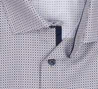 OLYMP vasalásmentes férfi ing karcsúsított  barna-sötétkék mintás rövid ujjú - gallér
